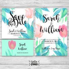 Beautiful Tulips Wedding invitation - floral printable kit - Set Customizable de HelloPonyWorld en Etsy