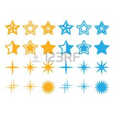 Stars yellow and blue stars icons set  photo