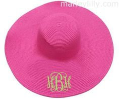 Monogrammed Wide Hot Pink Derby Hat with Pear Green Sash and lime interlock monogram. Preppy Southern, Southern Prep, Simply Southern, Southern Charm, Southern Belle, Run For The Roses, Monogram Hats, Floppy Hats, Purple Themes