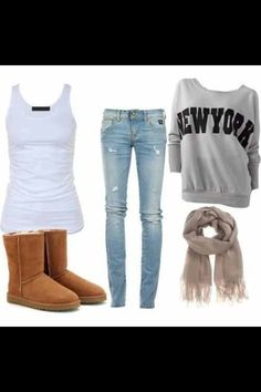 Winter outfit except the sweatshirt wouldnt say New York