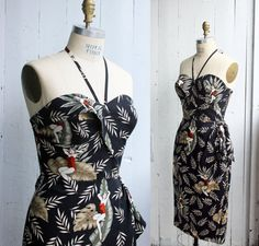 "Hawaiian Sarong Dress – Rockabilly - Pinup - Tiki - Vintage rayon – ""VLV pool…"