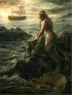"""Mermaid's Longing"" - 19TH Century Art Reproduction  Print"