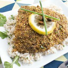 Skinny Pistachio Baked Halibut from skinny mom recipes