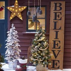 our wooden believe sign from country door makes any front porch welcoming and holiday ready