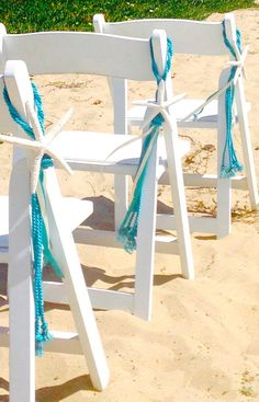 New Item! Beach Wedding Starfish Chair Decoration with Cording and Ribbons. Made with a Natural White Starfish. Decorate your beach wedding