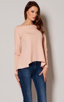 Asymetryczna bluzka w stylu lamania różowa