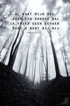 Al gaat mijn weg door een donker dal, ik vrees geen gevaar. Want U bent bij mij.Psalm 23:4   http://www.dagelijksebroodkruimels.nl/quotes-bijbel/psalm-234/