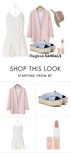 """Untitled #311"" by amazinglyzaina ❤ liked on Polyvore featuring Miu Miu, Miguelina, Rimmel and Topshop"