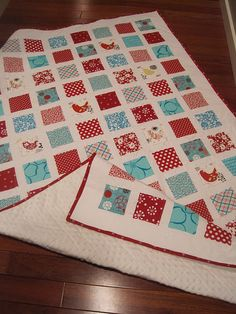 i like this square pattern! And what's NOT to love about red and aqua?!