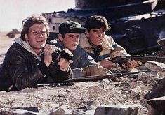 Patrick Swayze, C. Thomas Howell and Charlie Sheen in Red Dawn The Outsiders Ponyboy, The Outsiders Cast, Dawn Movie, 1980s Films, Beloved Film, Ralph Macchio, River Phoenix, Charlie Sheen, Patrick Swayze