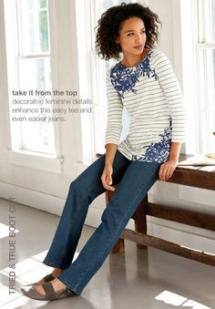 Women's apparel, accessories, and footwear from J. Modest Pants, Modest Outfits, Striped Tee, Spring Outfits, Style Me, Plus Size, Fashion Tips, Fashion Ideas, Clothes For Women