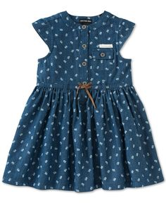 Precious floral print blooms on this adorable Calvin Klein belted denim dress for baby girl. | Denim: cotton; jersey: cotton/polyester | Machine washable | Imported | Crew neck | Short cap sleeves | T