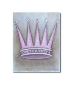 Princess Crown Wall Art Baby Girl Nursery Princess by handpainting, $15.00