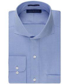Tommy Hilfiger Non-Iron Blue Houndstooth Dress Shirt