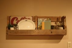 Pallet shelf - This would be perfect storage for my cook books to get them off the counter!