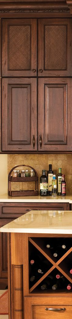 A bamboo styled turn post is a great detail for a Tropical Kitchen Design - Dura Supreme Cabinetry