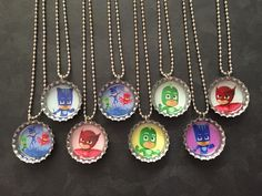 PJ Masks Bottle Cap Party favors (8) / contact us to add more for 2 dollars each by PartyFavorsbyPalz on Etsy