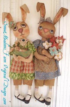 Primitive E-PATTERN Rabbit Dolls With Flower by SweetMeadowsFarm