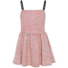 Edit - Strappy Full Peplum Top ($81) ❤ liked on Polyvore featuring tops, dresses, pink gingham top, spaghetti-strap tops, print peplum top, shirred top and print top