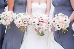 Anemone and Rose Bouquets, Wedding bouquet, wedding flowers, boutonnière, bridesmaids bouquet, florals, centerpieces, aisle, petals, snapdragons, peony, roses, garden roses, hydrangeas, tulips, lilies, greenery, blush, peach, burgundy, plum, white, ivory, red, magnolias, wedding, wedding planning, planner, coordinator, christina sloan, christina sloan events, sweet cotton designs, southern, alabama, traditional, accent flowers, elegant.