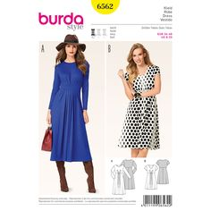 Dainty fan-shaped pleats spring open on the upper dress and the pleats on the skirt lie parallel and create fashionable swing. A Burda Style sewing pattern.