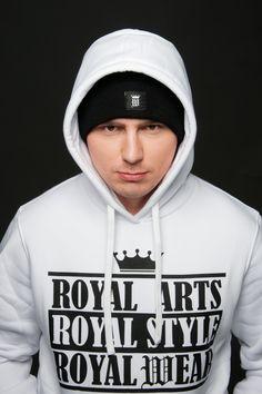 White mens hoodie by Royal Arts Style #royalwear