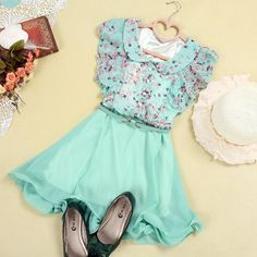 Short Sleeve Floral Chiffon Dress