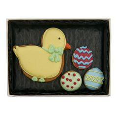 Fortnum & Mason Chick & Egg Biscuit Card £7.95 An edible Easter gift, this greetings card is decorated with a gingerbread Easter chick and three hand-decorated gingerbread biscuits in the shape of Easter eggs.