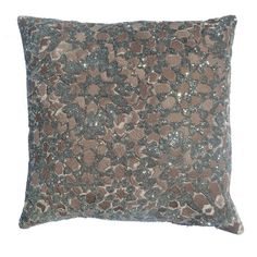 Velvet-inspired pillow in grey with a beaded Moroccan motif.   Product: PillowConstruction Material: Rayon cover...