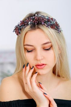Headpiece Natural Stones of Amethyst,Natural Stones crown,Amethyst tiara,Wedding crown,crystal beads tiara,Amethyst wedding headpiece  Turn any event into an inimitable charm affair with this incredibly wearable piece that will ensure all eyes are on you.In my shop you find out exclusive hair accessories handcrafted to make every women feel beautiful, pretty little angel.  Follow me here https://www.facebook.com/Anna-Krivko-Accessories-437249786623233/    All items https:&...