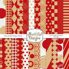 Sports Team Colors Digital Paper Pack  - Personal and Commercial Use Tan and Red
