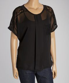 Another great find on #zulily! Black Lace Chiffon Scoop Neck Top - Plus by Dantelle #zulilyfinds