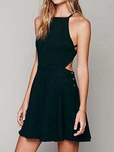 Shop Black Spaghetti Strap Button Side Backless Skater Dress from choies.com .Free shipping Worldwide.$16.9