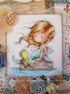 Copic Marker Europe: Shelley the little mermaid. Skin: and (for cheeks) Hair: E Tail : RV 15 Turtle: Sea: Ground: Shadows: Whimsy Stamps, Digi Stamps, Amazing Drawings, Cute Drawings, Mermaid Art, Mermaid Skin, Art Impressions Stamps, Mermaids And Mermen, Country Paintings
