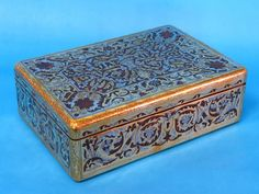English boullework (in this case brass & pewter with burl walnut) jewelry box with red velvet interior, wonderful engraved details on the metalwork Pretty Box, Metal Working, Red Velvet, Pewter, Jewelry Box, Decorative Boxes, Brass, English, Tea