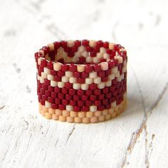Seed bead ring patterned ring peyote ring  wide by Anabel27shop
