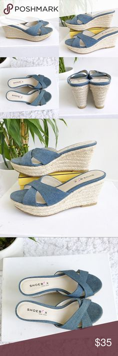 "Shoebox Blue Jean Espadrille Wedges Shoebox Blue Jean Espadrille Wedges! Perfect for spring/summer. Excellent condition. Slide on. Open back. Blue jean color. 3"" heel. Size 6 B. Shoebox Shoes Espadrilles"