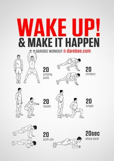 Wake Up Workout - Start the day with a bang with a workout that'll get your pulse going and get your energy levels up. Wake Up Workout, Home Workout Men, Workout Routine For Men, Gym Workout Tips, Boxing Workout, Workout Challenge, At Home Workouts, Free Workout, Workout Plans