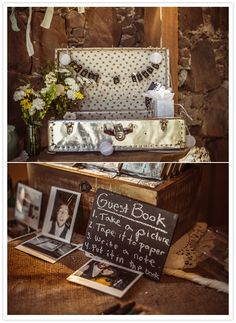 Set up a photo booth, a Polaroid, or digital camera with a printer, so guests can either take photos and write a message on them, or they can put a scrapbook together right then and there by adding the photo to an album and writing a special note underneath.