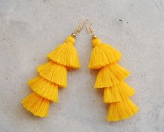 Four Layered Yellow Tassel Earrings