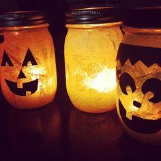 Tissue paper + #modpdge + construction paper + Ball #jars + LED flameless tea lights = #halloween #awesomeness