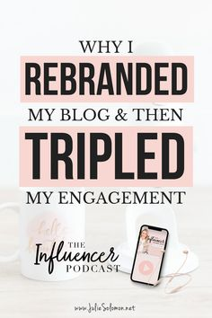 Luckily, I crawled myself out with a major rebrand to not only my brand, but to my happiness as well. Today's episode goes into detail about how I rebranded and tripled my engagement, stopped relying on affiliate links as a priority for income, and started being in charge of my own voice - and essentially, got to where I am now. The Influencer Podcast | Julie Solomon | Business Podcast | Marketing Podcast | Blogging Podcast #podcast #marketing #business #blogging