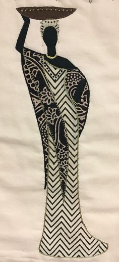 Afrikansk kvinde i sort/hvid - detalje fra quilten.