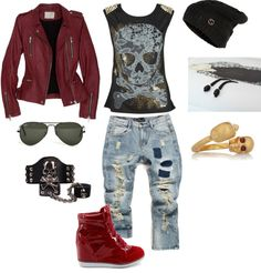 """""""Skull style"""" by thaohoang ❤ liked on Polyvore- LOVE the shoes and jacket!"""