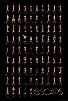 Cartel con todos los ganadores de los Oscars. ¿Puedes adivinar viendo el oscar de cada año a qué película corresponde?