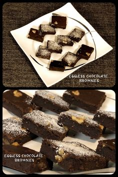 Eggless Chocolate Brownies  #eggless #chocolate #brownies #dessert #sweet #yummy #delicious #tasty #lecker #homemade #hausgemacht #recipe #süss #Süssigkeit #walnut #baumnuss #vegetarian #vegetarisch #baking #backen Chocolate Brownies, Badge, Good Food, Desserts, Recipes, Home Made, Chocolate Chip Brownies, Tailgate Desserts, Deserts