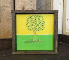 Lemon Tree Art, Yellow Green, Summer, Reclaimed Wood, Engraved, Kitchen Decor, Lime