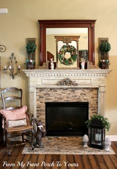 Spring Mantel I Like The Topiaries Fireplace Ideas Makeovers