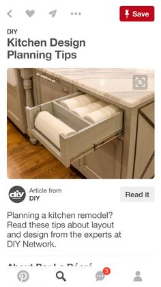 Layout Design Ideas Planning a kitchen remodel? Read these tips about layout and design from the experts at DIY Network.Planning a kitchen remodel? Read these tips about layout and design from the experts at DIY Network. Kitchen Cabinet Organization, Kitchen Drawers, Kitchen Redo, New Kitchen, Home Organization, Cabinet Ideas, Drawer Ideas, Cheap Kitchen, Organizing Ideas