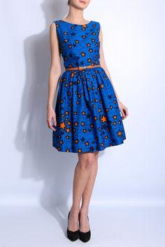 robe ceinturée , imprimé étoile